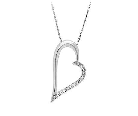 Zilveren hartjesketting bezet met steentjes VALENTIJN !-0