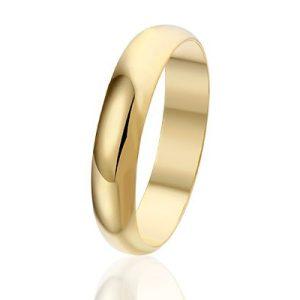 Trouw, trouwring voor man en vrouw 4 mm - verguld-3552