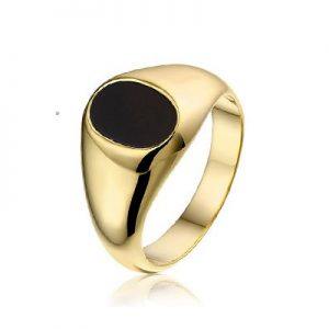 Montebello Ring Riverside - Heren - Zilver Verguld - Onyx - 11 mm-6360