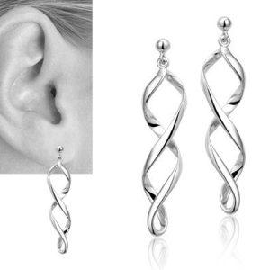 Spiraalvormige oorbellen in zilver-7777