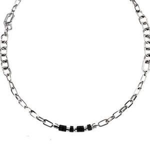 Mannenketting - armband van zwart rubber en edelstaal -0