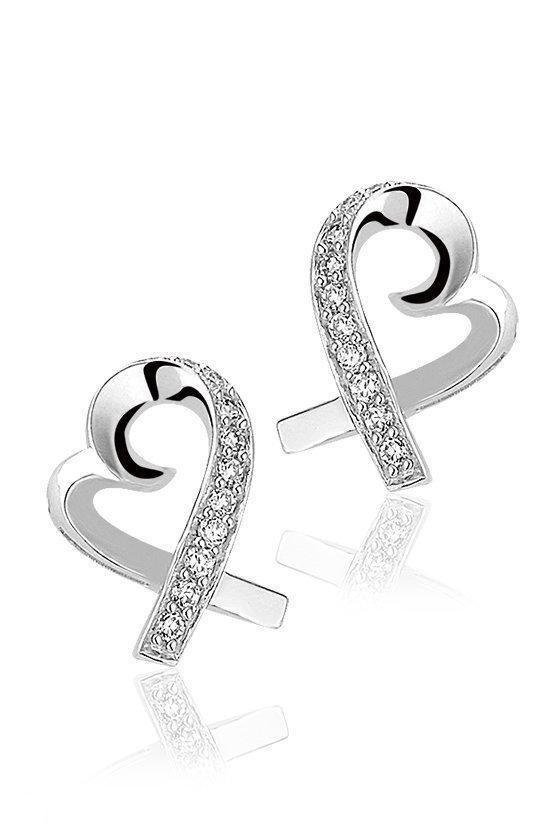 Montebello Oorbellen Heart - Dames - Zilver - Gerhodineerd - Zirkonia - Hart - ∅15 mm-0