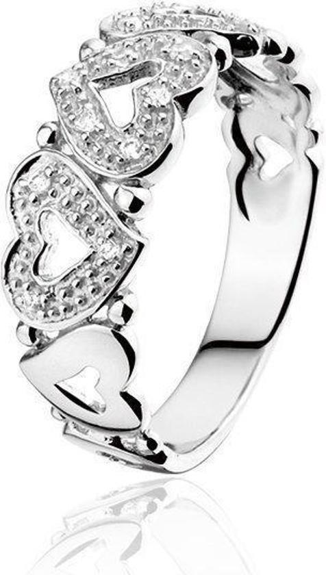Montebello Ring Carmen - Dames - Zilver Gerhodindeerd - Zirkonia - Hart - 7 mm-0