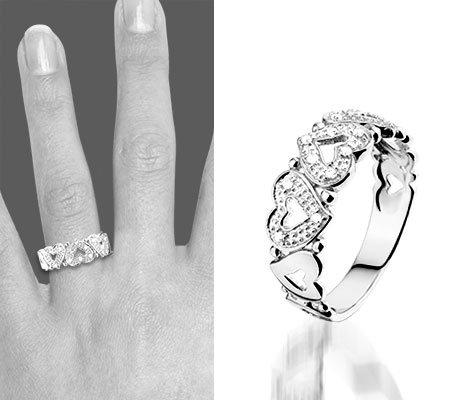 Montebello Ring Carmen - Dames - Zilver Gerhodindeerd - Zirkonia - Hart - 7 mm-6202