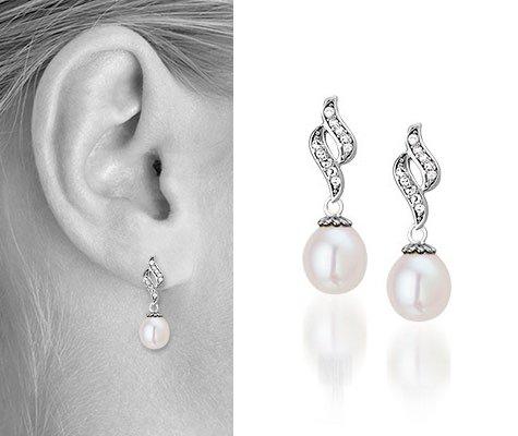Parel oorbellen met steentjes Conny - Montebello juwelen-0