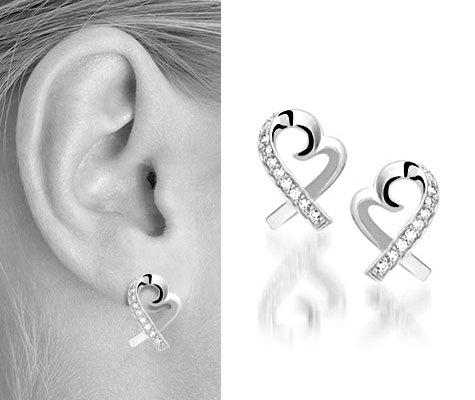 Montebello Oorbellen Heart - Dames - Zilver - Gerhodineerd - Zirkonia - Hart - ∅15 mm-5983