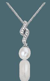 Montebello Ketting Becky - Dames - Zilver Gerhodineerd - Parel - Zirkonia - 7 x 23 mm - 45 cm-0