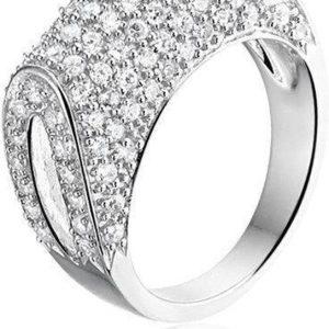 Montebello Ring Tasja - Dames - Zilver Gerhodineerd - Zirkonia - Gebogen -0