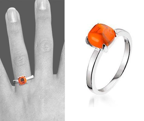 Montebello Ring Red Accent - Dames - Zilver Gerhodineerd - Zirkonia-6620