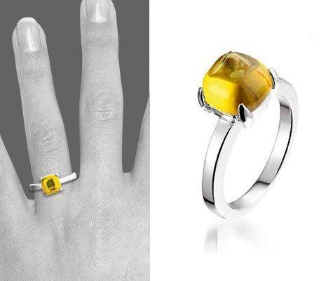 Montebello Ring Yellow Accent Dames - Zilver Gerhodineerd - Zirkonia-0