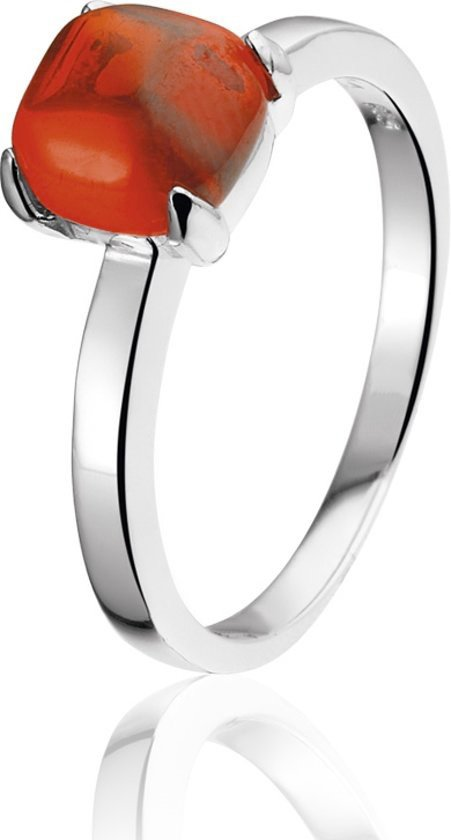 Montebello Ring Red Accent - Dames - Zilver Gerhodineerd - Zirkonia-0