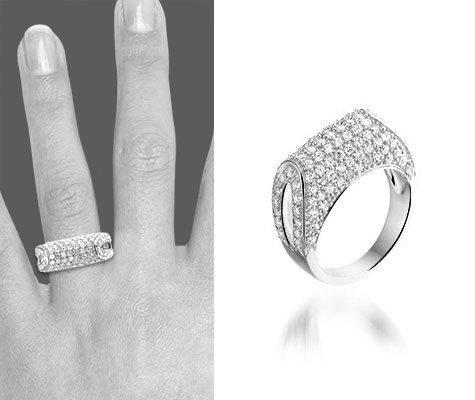 Montebello Ring Tasja - Dames - Zilver Gerhodineerd - Zirkonia - Gebogen -6383