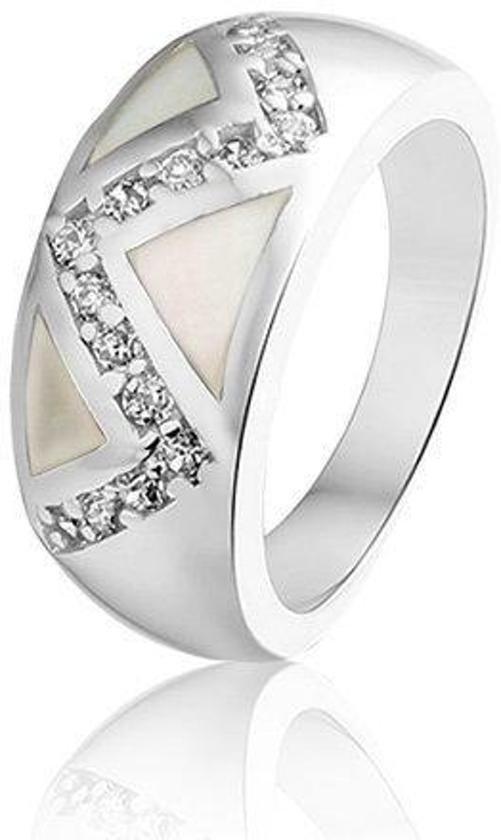 Montebello Ring Els - Dames - Zilver Gerhodineerd - Zirkonia - Parelmoer-0