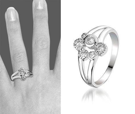 Montebello Ring Blair - Dames - Gerhodineerd Zilver - Zirkonia - 12 mm-6180