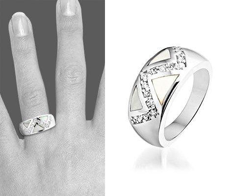Montebello Ring Els - Dames - Zilver Gerhodineerd - Zirkonia - Parelmoer-6239