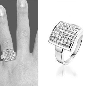 Montebello Ring Greet - Dames - Zilver gerhodineerd - Zirkonia -0
