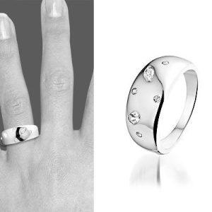 Montebello Ring Jana - Dames - Zilver Gerhodineerd - Zirkonia - 8 mm-6292