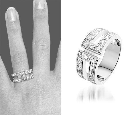 Montebello Ring Jera - Dames - Zilver Gerhodineerd - Zirkonia-6294