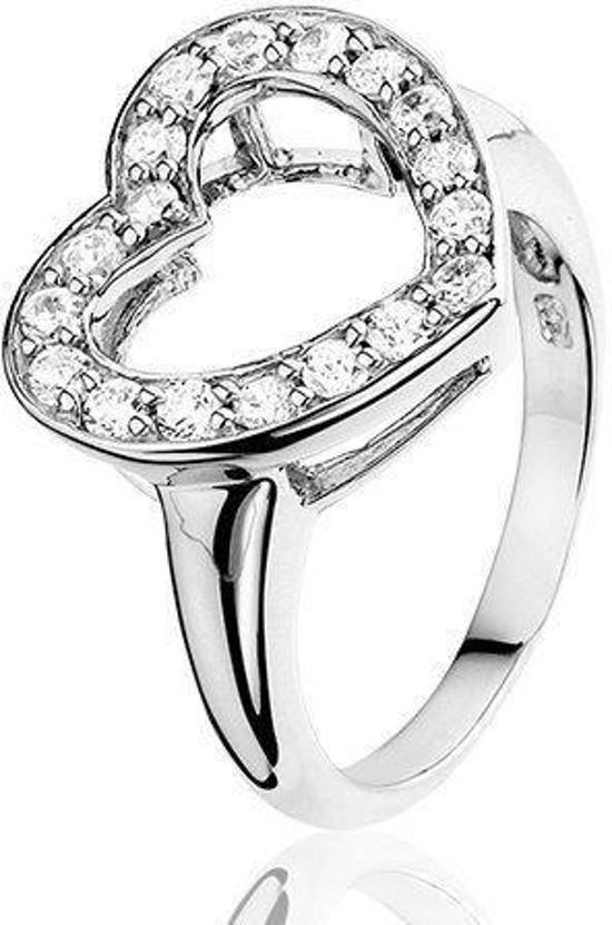 Montebello Ring Cherryl - Dames - Gerhodineerd Zilver - Hart - Zirkonia -0