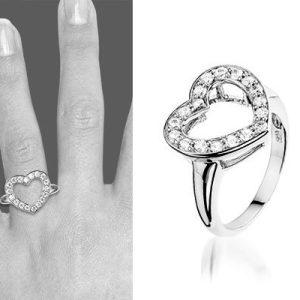 Montebello Ring Cherryl - Dames - Gerhodineerd Zilver - Hart - Zirkonia -6214