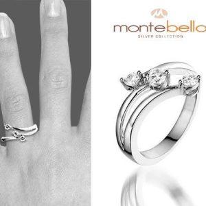 Three Stars Zilveren ring met 3 echte zirkonia - Montebello-0