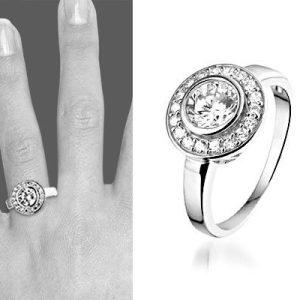 Montebello Ring Jupiter - Dames - Zilver Gerhodineerd - Zirkonia - 13 mm-6298
