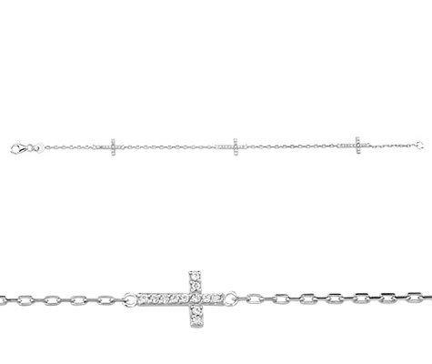 Montebello Armband Dover - Dames - Zilver - Gerhodineerd - Zirkonia - Kruis - 7 mm - 18 cm-0
