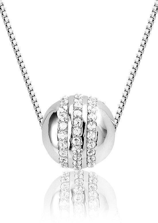 Montebello Ketting Silver Globe - Dames - 925 Zilver - Zirkonia ∅2 mm - 45 cm-0