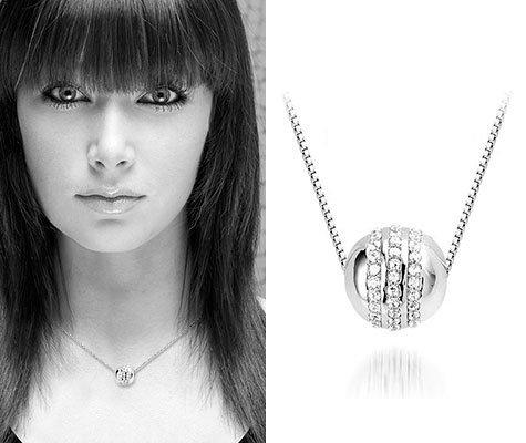 Montebello Ketting Silver Globe - Dames - 925 Zilver - Zirkonia ∅2 mm - 45 cm-5779