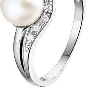 Montebello Ring Pam - Dames - Zilver Gerhodineerd - Zirkonia - Parel - 7 mm -0