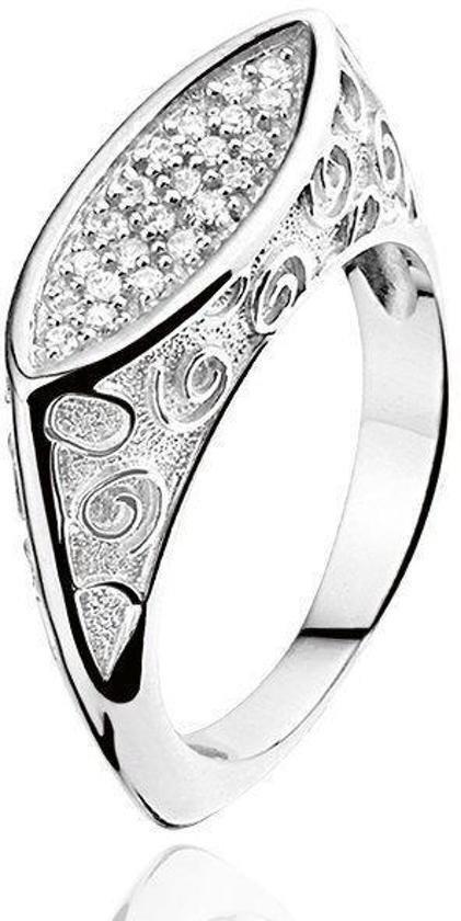 Montebello Ring Carijn - Dames - Zilver Gerhodineerd - Zirkonia - Artistiek-0