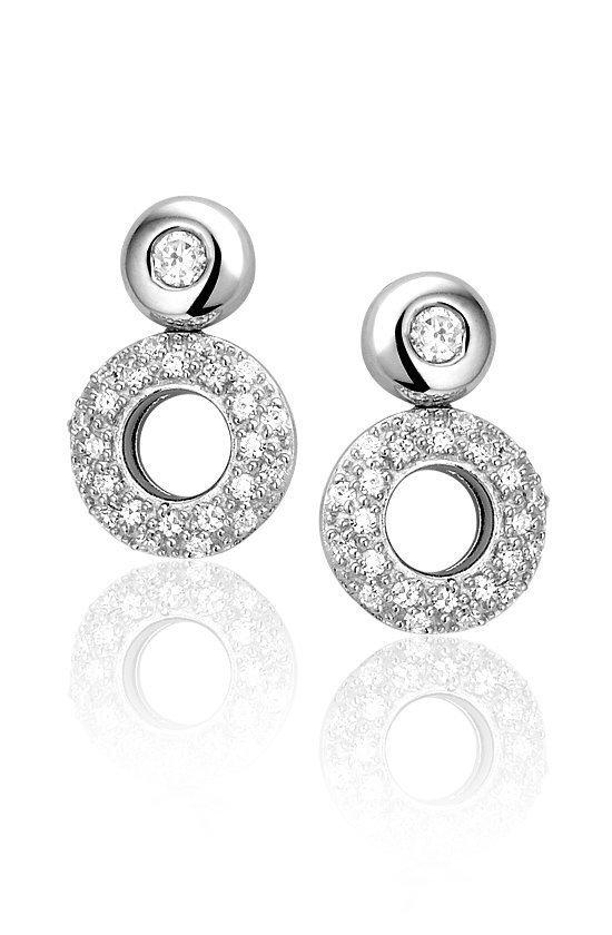 Montebello Oorbellen Circle - Dames - Zilver Gerhodineerd - Zirkonia - ∅13 mm-0