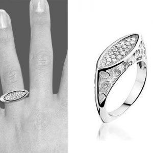 Montebello Ring Carijn - Dames - Zilver Gerhodineerd - Zirkonia - Artistiek-6200