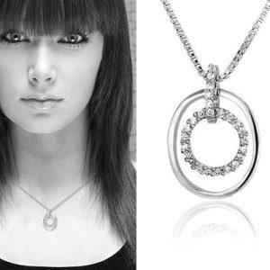 Montebello Ketting Jessica - Dames - Zilver Gerh.- Zirkonia - 12x17mm - 45cm-0