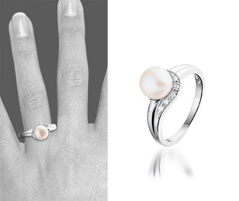 Montebello Ring Pam - Dames - Zilver Gerhodineerd - Zirkonia - Parel - 7 mm -6346