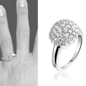 Montebello Ring Shiny Globe - Dames - Zilver Gerhodineerd - Zirkonia - 9 x 14 mm-0