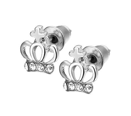 Kroon, metalen oorbellen - amanto kinderjuwelen-0