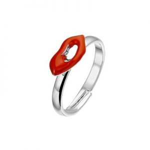 Lips, metalen fantasie ring - Amanto Kids sieraden-0