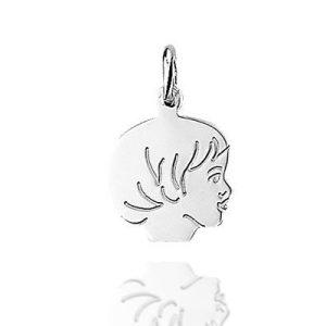 meisjesgezicht - zilveren hanger-0