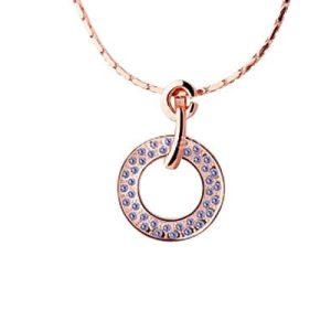 Montebello ketting Azuriet - Dames - Verzilverd Rosé - Kristal - ∅ 23 mm - 51 + 5 cm -0