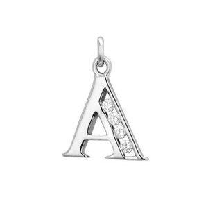 Montebello Hanger Letter A - Dames - Zilver Gerhodineerd - Zirkonia - 14 x 20 mm -0