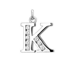 Montebello Hanger Letter K - Dames - Zilver Gerhodineerd - Zirkonia - 10 x 20 mm -0