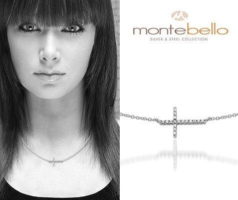 Montebello Ketting Varsberg - 925 Zilver Gerhodineerd - Kruis - 41+4cm-4179