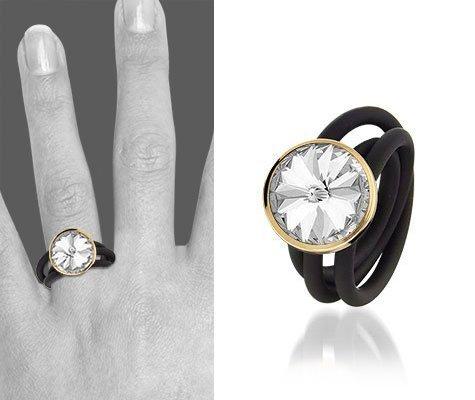 Verga, zilveren ring met rubber - Montebello sieraden-0