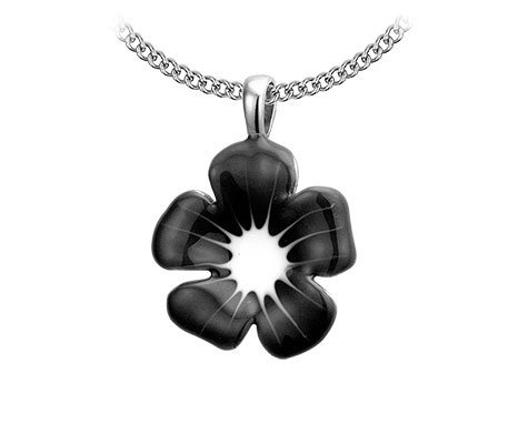 Flower Black, edelstalen halsketting - Bellitta Juwelen-0