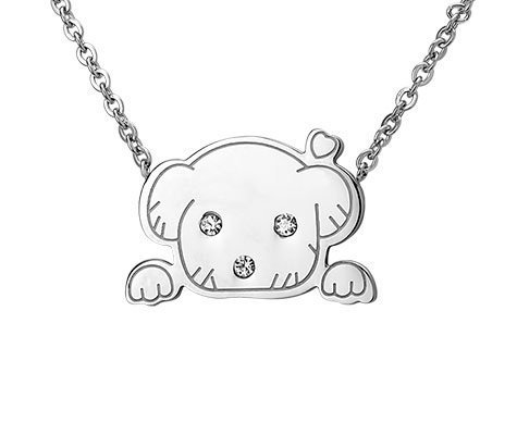 Montebello Ketting Puppy - Dames - 316L Staal - Zirkonia - Hond - 12x20mm - 45cm-0
