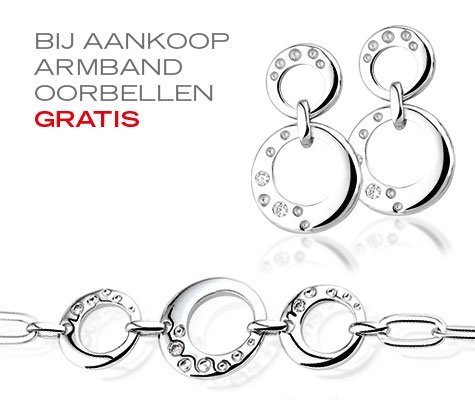 Nyon, zilveren armband en GRATIS oorbellen - Montebello juwelen-0