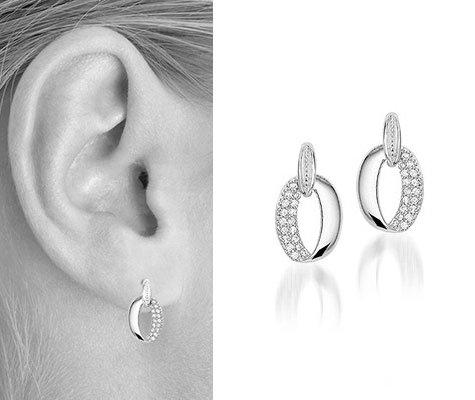 Montebello oorbellen Tasmanië - Dames - Zilver Gerh - Zirkonia - 9x15mm-6093