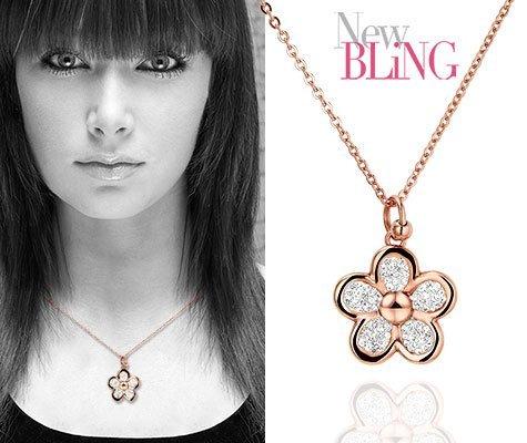 Alnus, edelstalen Bloem ketting - New Bling-0