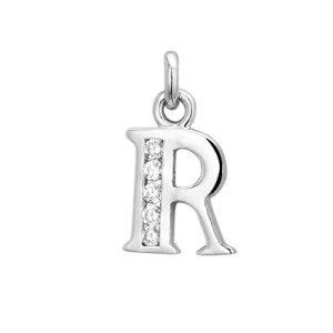 Montebello Hanger Letter R - Dames - Zilver Gerhodineerd - Zirkonia - 10 x 20 mm -0